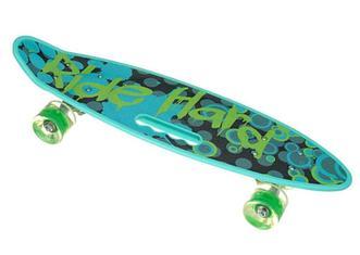 Пенни Борд - скейт SL-AS 108 бирюзовый | пенниборд скейтборд со светящимися колесами и декой с ручкой
