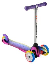 Самокат детский Scooter 0073D фиолетовый до 40кг | трехколесный мини самокат Скутер со светящимися PU колесами