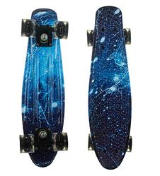 Пенни Борд - скейт Best Board 25 Космос со светящимися колесами, двухсторонний окрас | пенниборд скейтборд