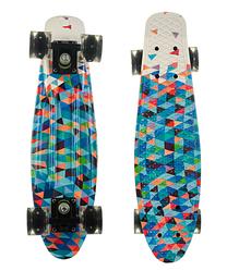 Пенни Борд - скейт Best Board 25 голубой со светящимися колесами, двухсторонний окрас | пенниборд скейтборд