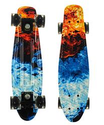 Пенни Борд - скейт Best Board 25 Огонь Вода со светящимися колесами, двухсторонний окрас | пенниборд скейтборд