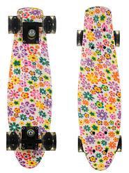 Пенни Борд - скейт Best Board 25 Цветы со светящимися колесами, двухсторонний окрас | пенниборд скейтборд