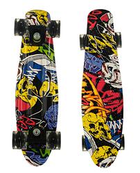 Пенни Борд - скейт Best Board 25 Граффити со светящимися колесами, двухсторонний окрас | пенниборд скейтборд