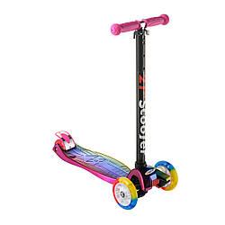 Самокат детский Best Scooter 0072D розовый | четырехколесный самокат Бест Скутер со светящимися колесами
