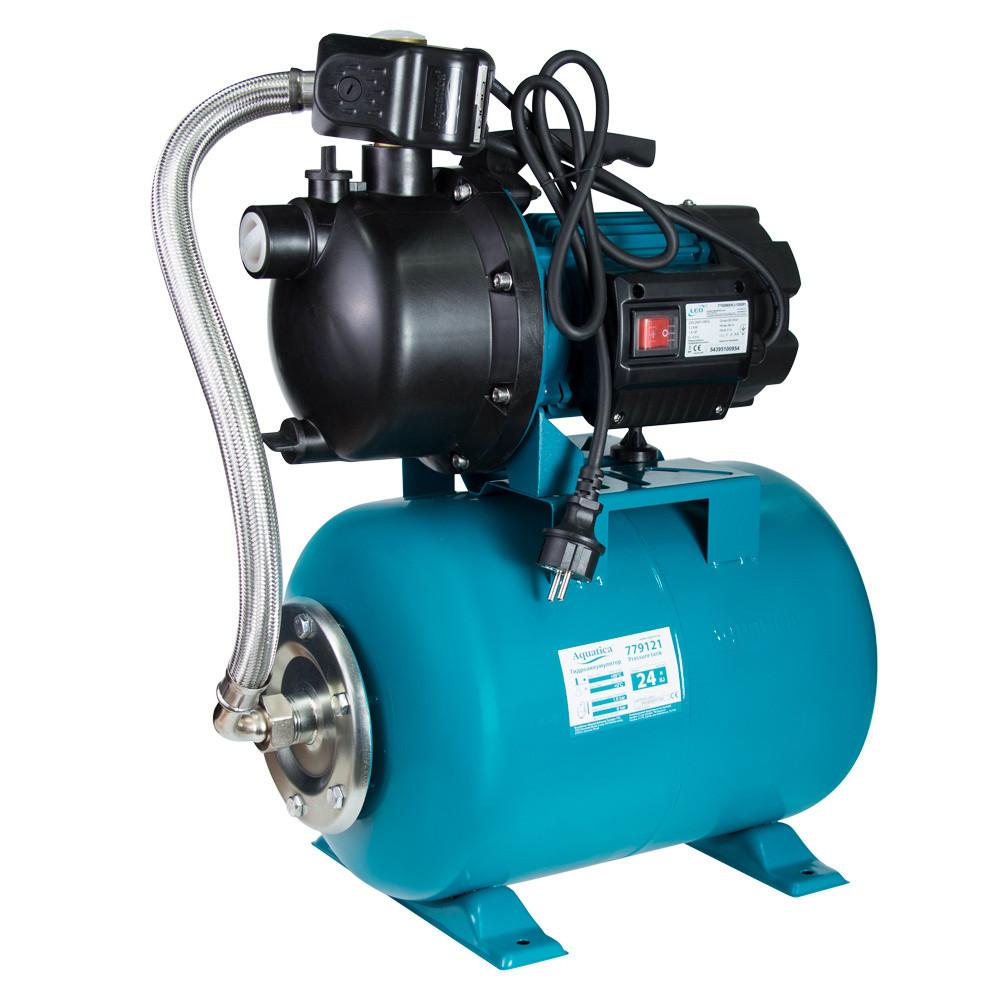 Станція 1.2 кВт Hmax 48м Qmax 80л/хв пластик (самовсмоктуючий насос) 24л Україна AquaticaLEO (775309/24)