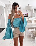 Блуза жіноча літнє з об'ємними рукавами, фото 4