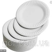 Паперова тарілка кругла 200мм біла (100 шт)