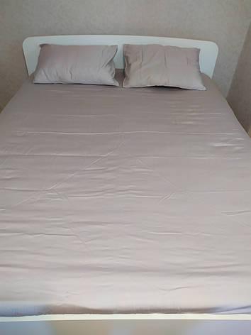 Полуторный комплект постельного белья из натурального турецкого однотонного сатина цвета мокко, фото 2