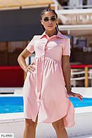 Стильное женское платье-рубашка свободного кроя до колена удлиненное сзади р-ры 42-48 арт. 1033