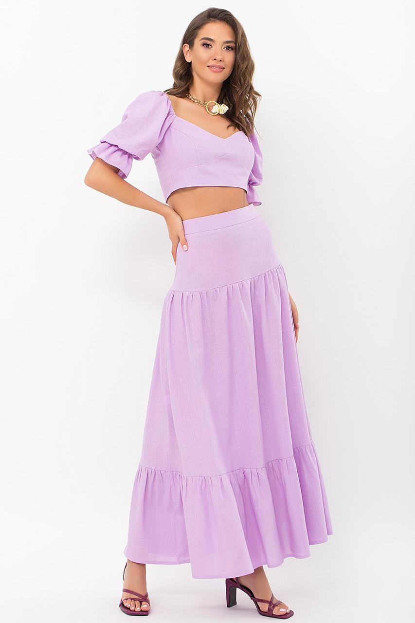 Костюм женский летний блуза с длинной  юбкой лаванда  Файли
