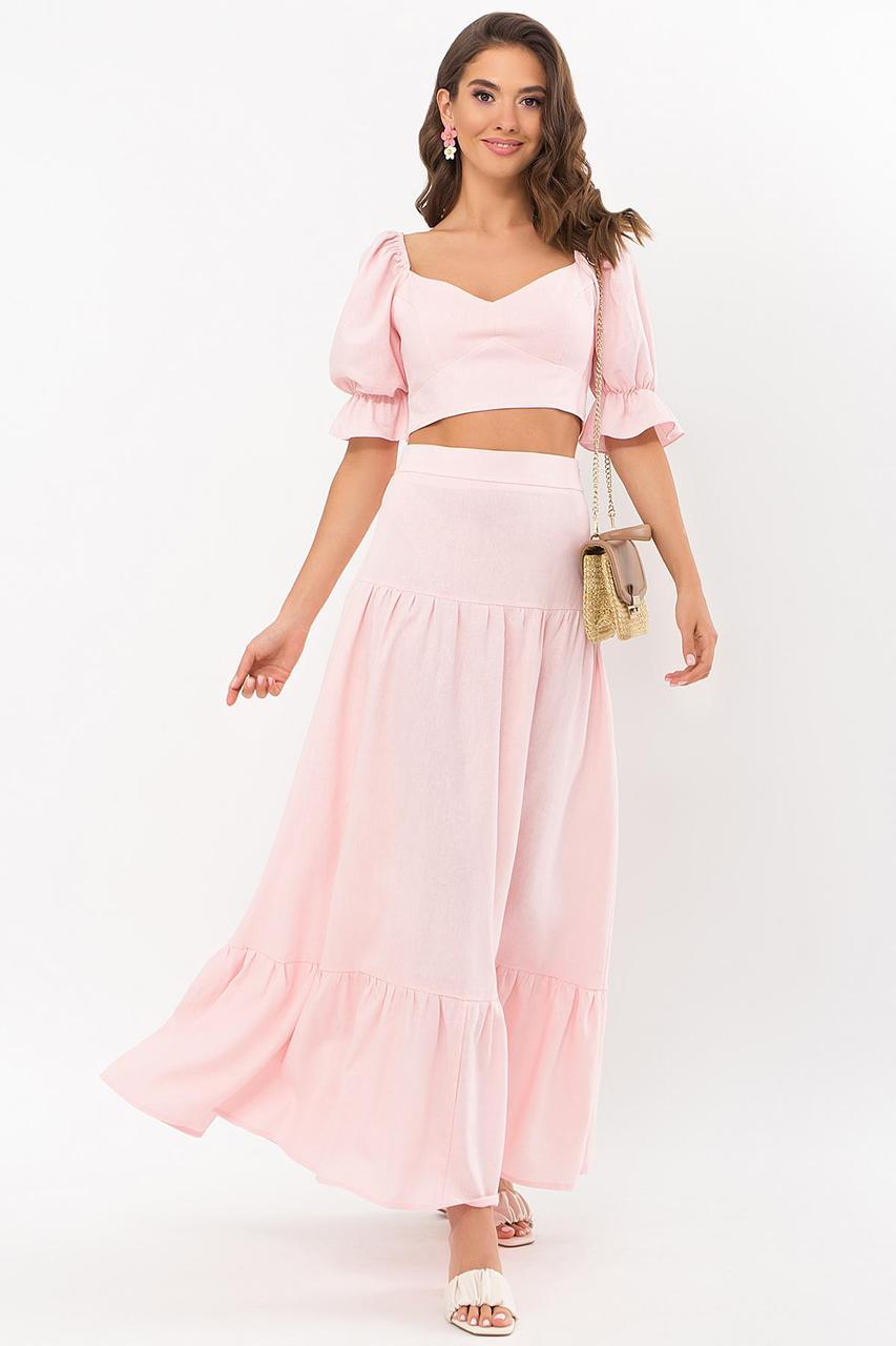 Костюм  женский летний блуза с длинной  юбкой  розовый Файли