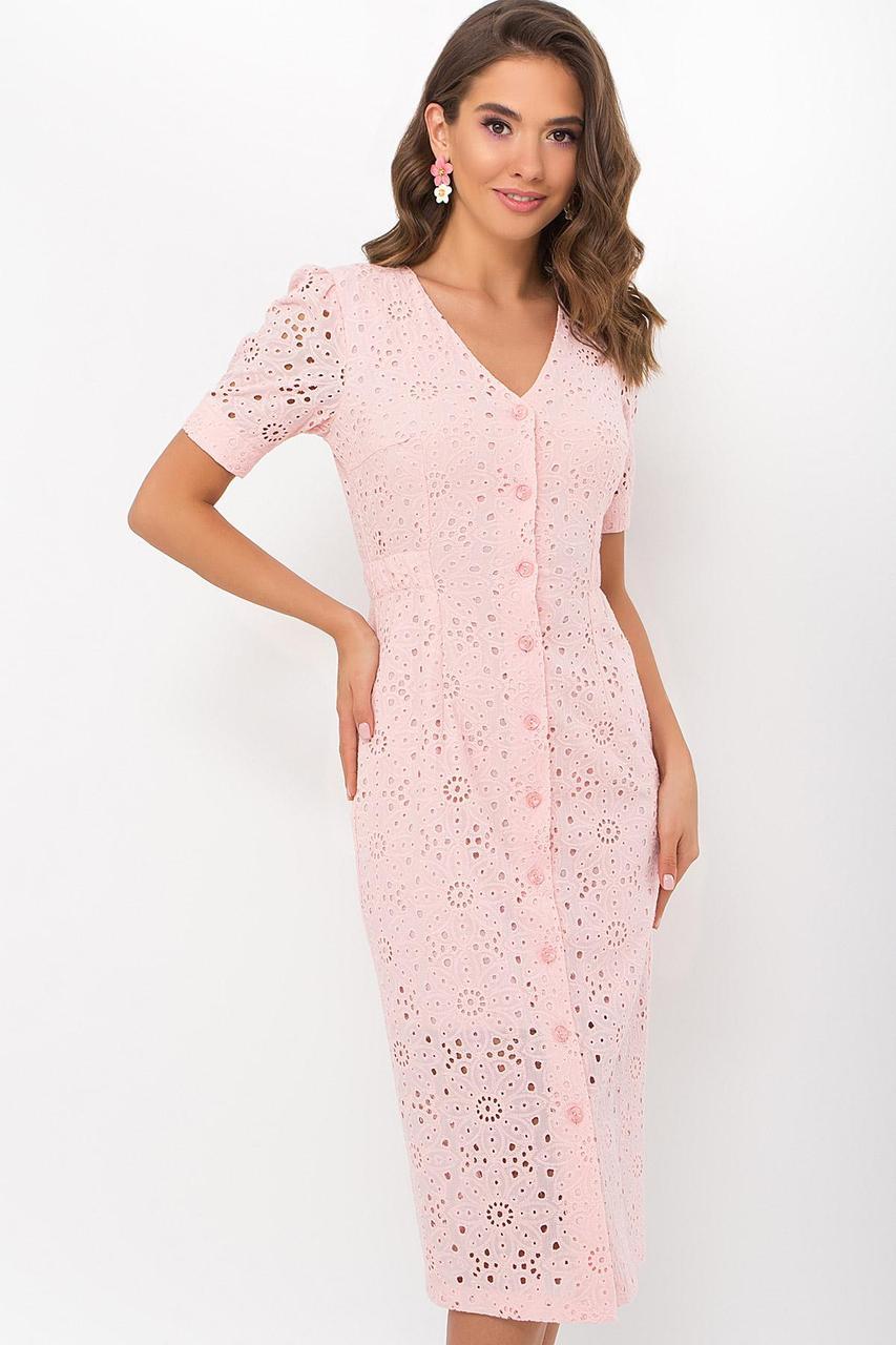 Сукня міді літній приталене з прошвы рожеве Клера к/р