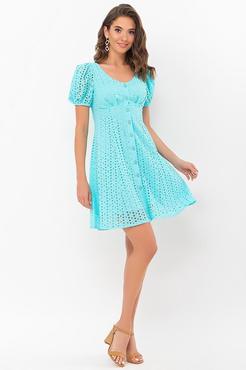 Платье  летнее из батиста прошвы бирюзовое Эдна к/р