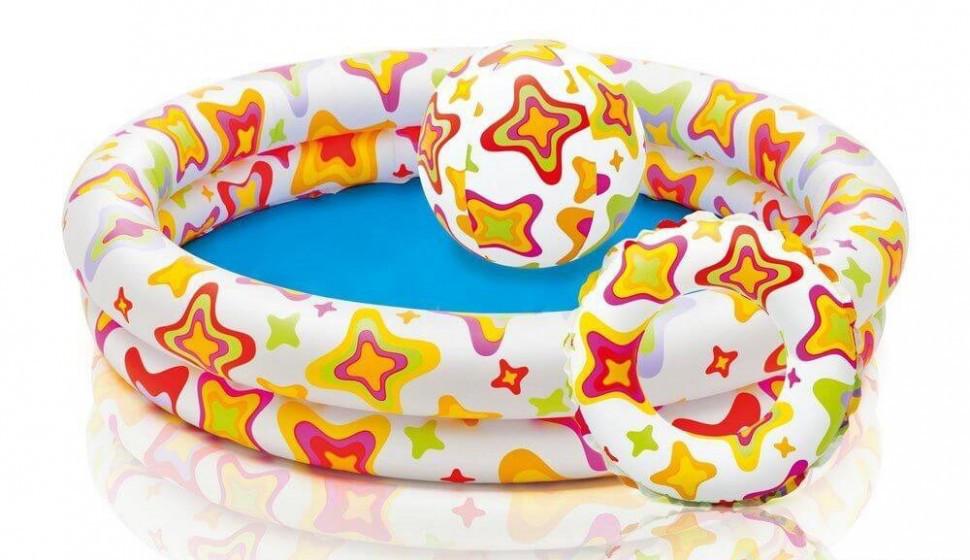 Дитячий надувний басейн Intex 59460 + коло + м'яч.