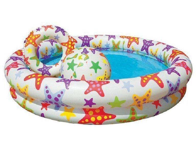Дитячий надувний басейн Intex з набором «Зірки» 122х25 см (59460-2)