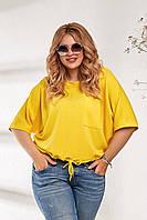 Женский объемный укороченный свитшот с карманом желтый