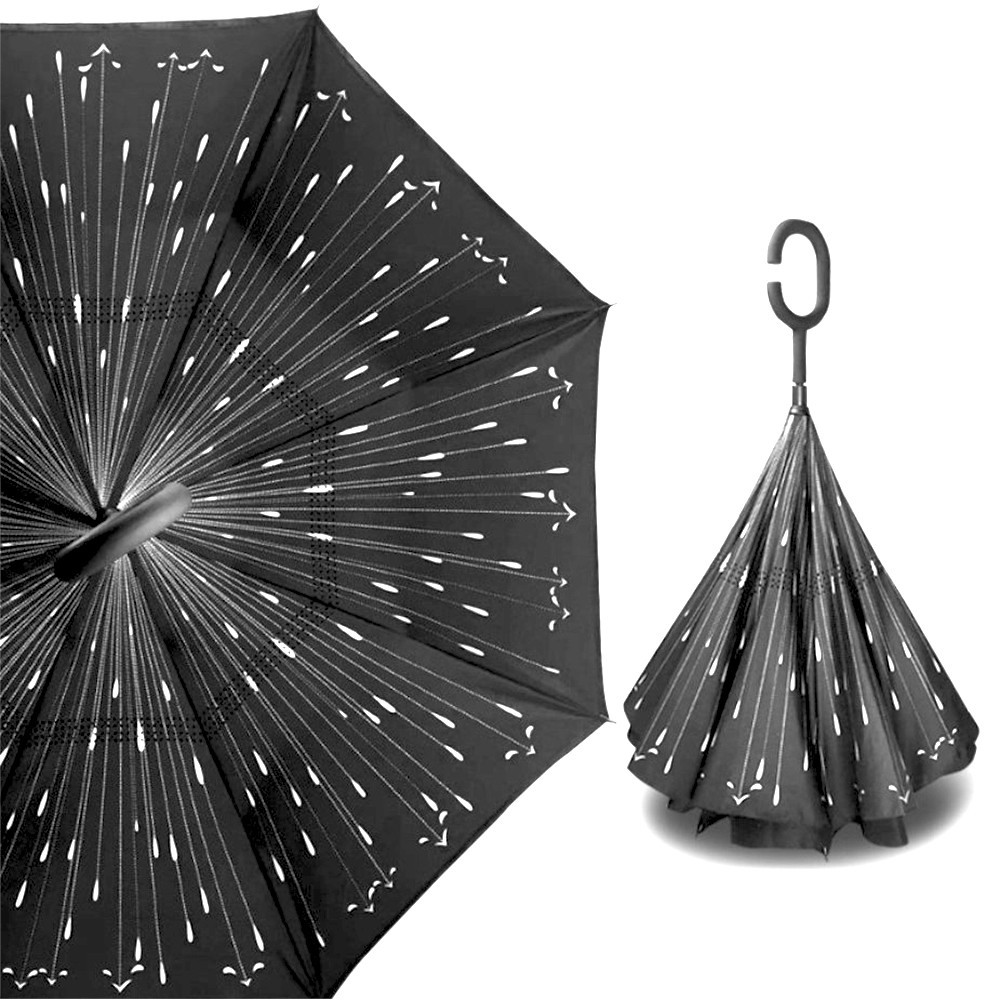 Зонт навпаки Up-Brella Метеоритний дощ Чорний з білим (2907-13280)