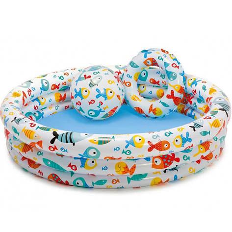 Дитячий надувний басейн Intex 59469 з м'ячем і колом 132х28 см, фото 2