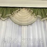 Ламбрекени для кухні спальні вітальні, шифоновий ламбрекен для спальні дитячої залу, ламбрекени в зал спальню кухню, шифонові, фото 2