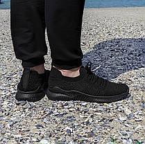 Чорні чоловічі тканинні кросівки шкарпетки літні текстиль легкі кросівки сітка кросівки шкарпетки, фото 3