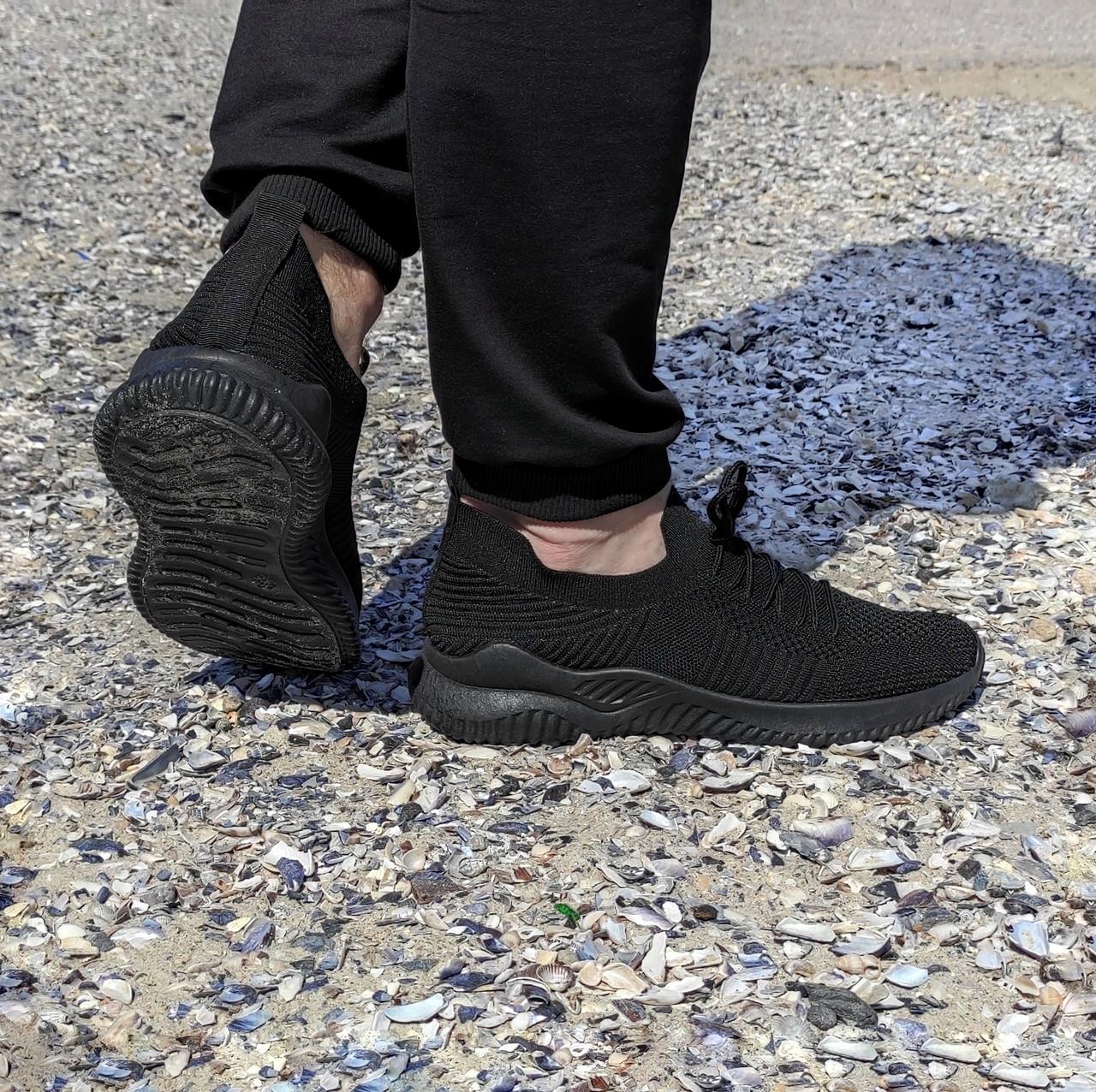 Чорні чоловічі тканинні кросівки шкарпетки літні текстиль легкі кросівки сітка кросівки шкарпетки