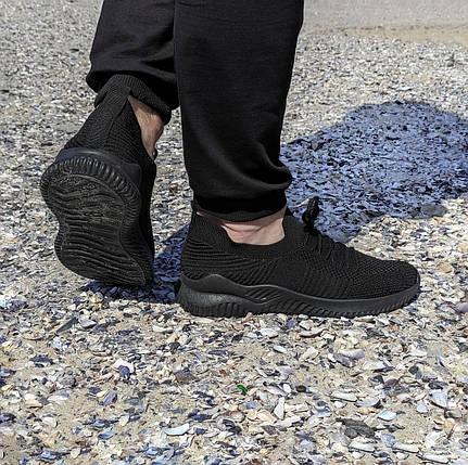 Чорні чоловічі тканинні кросівки шкарпетки літні текстиль легкі кросівки сітка кросівки шкарпетки, фото 2