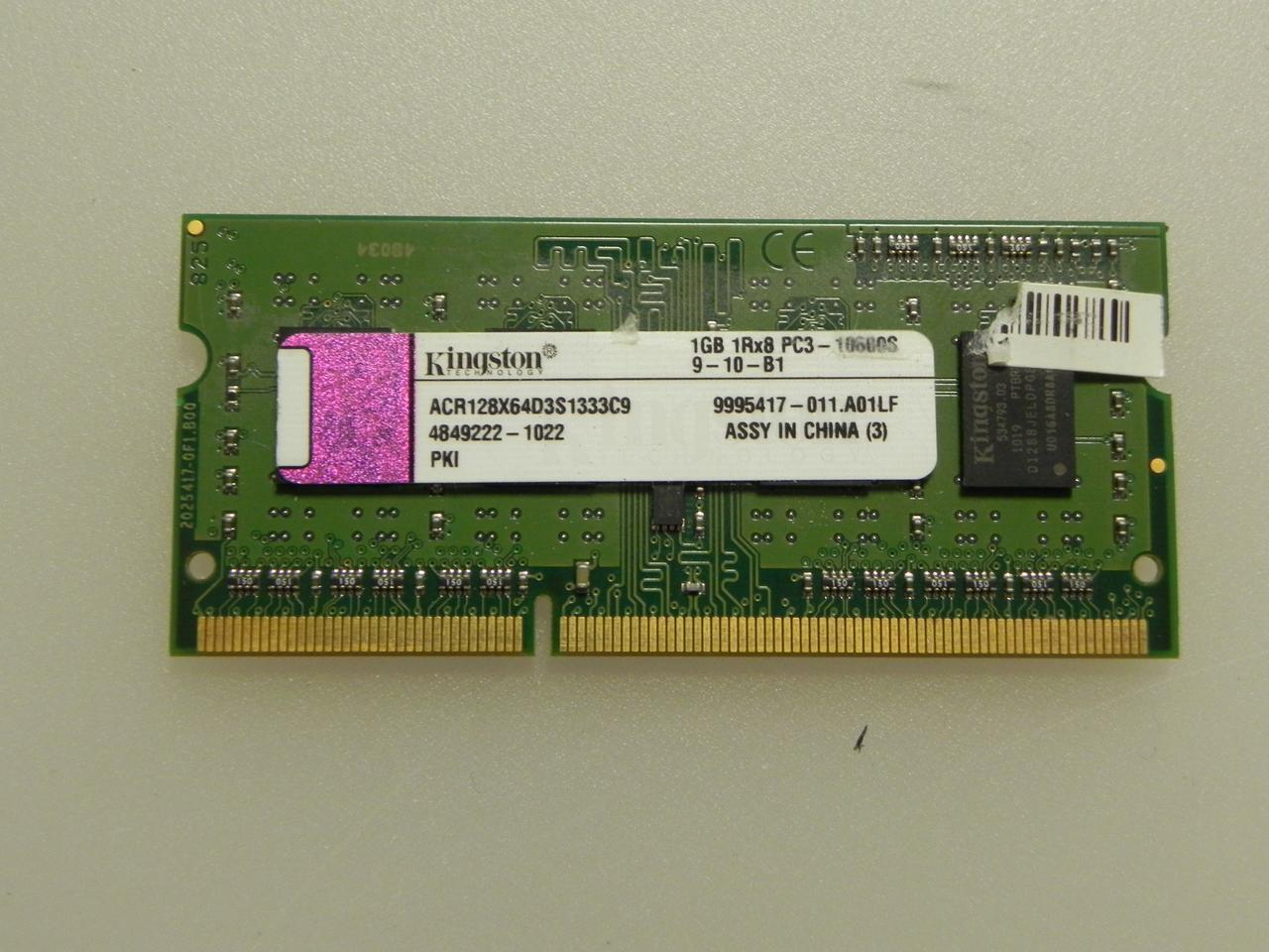 SODIMM DDR3 PC3 1GB оперативна пам'ять Kingston PC3-10600S 1GB для ноутбука. бо
