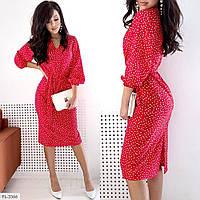 Стильное  прямое платье с поясом   р-ры 42-48 арт. 3365 Marisa