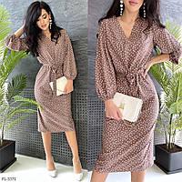 Стильное прямое платье за колено миди с поясом рукав фонарик три четверти  р-ры 42-48 арт. 3365 Marisa