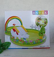 Надувной игровой центр Intex 57154 «Мой сад», 290 х 180 х 104 см, с надувными игрушками, фонтаном и горкой