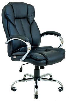 Офісне крісло керівника Гранде, чорний і коричневий хрестовина Хром,  Richman