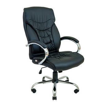 Офісне комп'ютерне крісло керівника Кальярі, хрестовина Хром, Чорне  Richman
