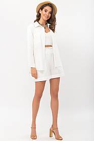 Свободные белые женские шорты льняные с высокой талией размер S M L XL