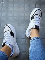 Кеды женские белого цвета с черными вставками под Nike Air Force