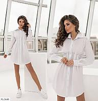 Эффектное короткое женское платье-рубашка на лето из натурального коттона по фигуре  р-ры 42-48 арт. 2259, фото 1