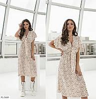 Красиве літнє плаття вільного крою трапеція за коліно з коротким рукавом р-ри 42-48 арт. 1303