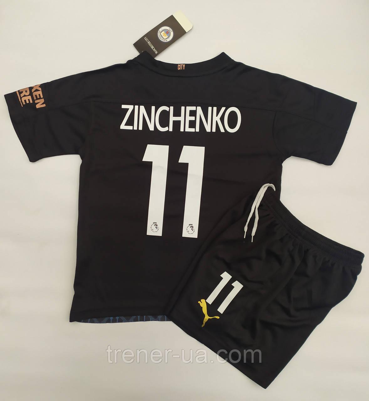 Футбольна форма дитяча Manchester Citi Zinchenko виїзна чорна 2021