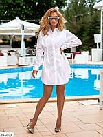Красивое короткое женское платье-рубашка мини с длинным рукавом на лето  р-ры 42-48 арт. 1469