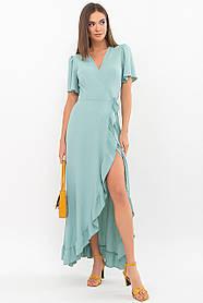 Коктельное летнее платье длинное с красивой отделкой по краю, хлопок жатка размер 42 44 46 48