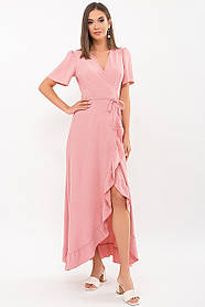 Романтическое хлопковое платье в пол, розового цвета с рюшами   размер 42 44 46 48