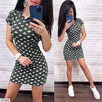 Прогулочное платье женское спортивное легкое на лето с капюшоном и карманами р-ры 42-46 арт. 2849