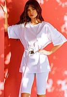 Женский спортивный костюм оверсайз белый с футболкой и велосипедки модный красивый летний костюм