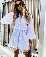 Ошатне літній біле плаття а-силуету з котону з широким рукавом кльош р-ри 42-48 арт.10219