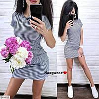 Прогулочное платье женское летнее короткое приталенное  с капюшоном и карманами р-ры 42-46 арт. 4002