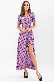 Платье длинное из мягкого софта  в горошек с воланами цвет сирень   размер 42 44 46 48