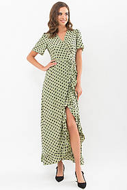 Красивое приталенное платье макси на запах в горошек размер 42 44 46 48