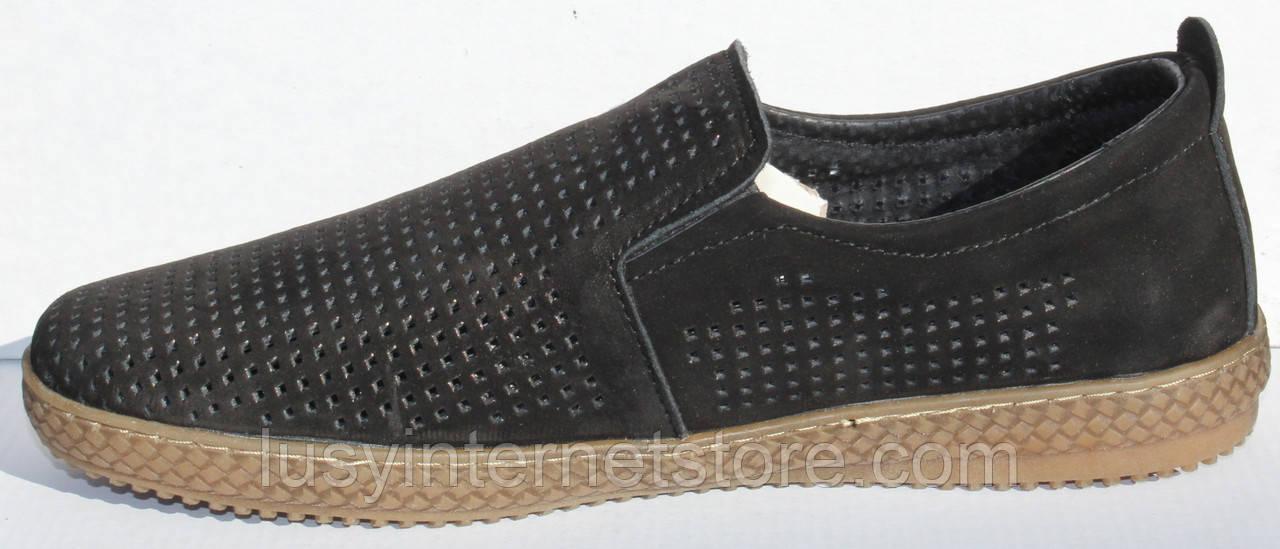 Чоловічі сильні чорні туфлі нубук від виробника модель ТР2101