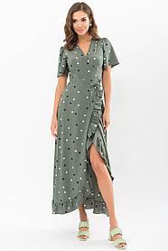 Женственное летнее  платье софт цвета хаки в цветной горошек размер 42 44 46 48