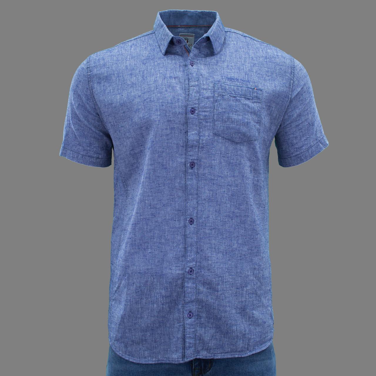 Сорочка чоловіча (приталена) з коротким рукавом Bagarda BG5723 SAX 80% льон 20% бавовна L(Р)
