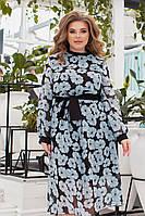 Жіноче шифонове плаття великого розміру.Розміри:48/62+Кольору, фото 1
